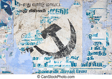 faded communism - faded communist hammer and sickle on wall...