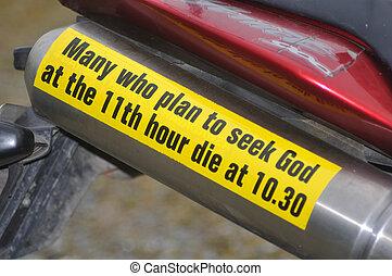 sober warning - Gospel bumper sticker on a motorbike