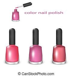 Set of nail polish - Set of Color Nail Polish Pink, Claret,...