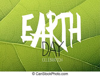Happy Earth Day Poster. Green leaf texture background
