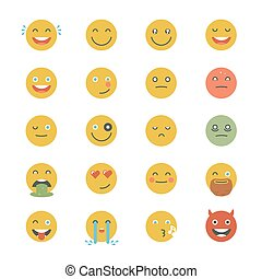 Emoticons Collection. Set of Emoji. Flat monochrome style. Different Emoticons. Vector smile face icons.