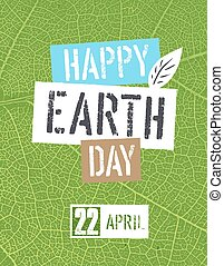 Happy Earth Day Logotype. On green leaf veins texture