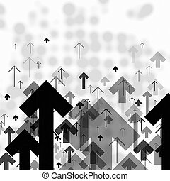 Science or Business Abstract Monochrome Background. Arrows...