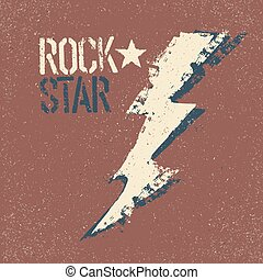 Rockstar Grunge lettering with thunderbolt symbol Tee print...