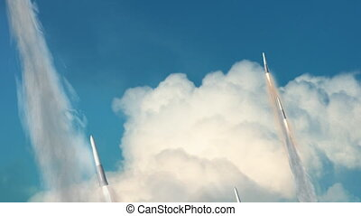 Missiles Being Launched - Looping animation of a group of...