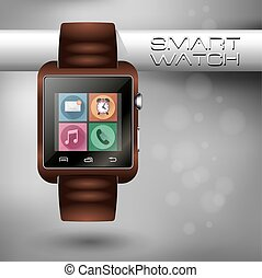 Modern shiny smart watch with leather bracelet applications icons