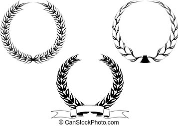 Set of laurel wreaths - Set of black laurel wreaths isolated...