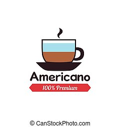 Coffee label - Isolated americano coffee icon with a ribbon...
