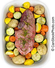 Uncooked Lamb Roast - An uncooked lamb roast with vegetables...