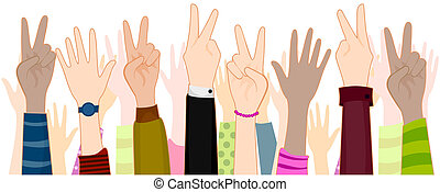 Peace Sign - Hands with Peace Sign with Clipping Path
