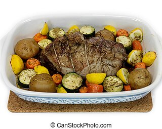 Lamb Roast - A lamb roast with vegetables in a baking tray