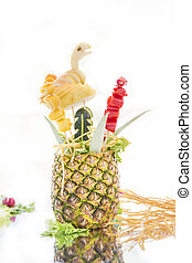Pineapple carving in close-up