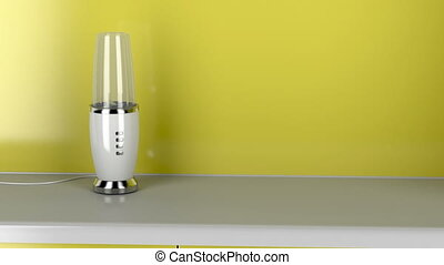 Modern electric blender in the kitchen, zoom to the blades