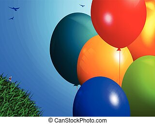 Spring background with balloons