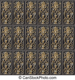 Bronzed tiles seamless background.