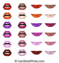 Vector lips set. - Lips set. Womans mouth close up in...