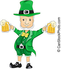 Leprechaun with Beer with Clipping Path