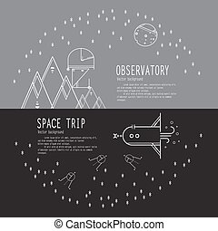 Banners space travel. Space icons modern line style vector....