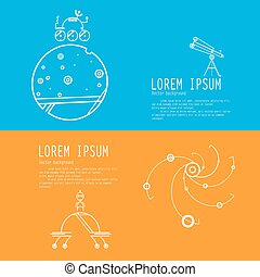 Set banners of space exploration. Space icons modern line...