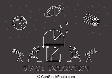 Vector illustration modern space exploration. Space icons...