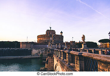 Angels Castle in Rome, ambient evening light