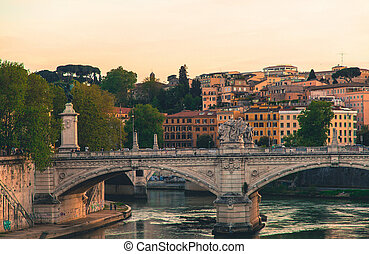River Tiber and bridges in the old city of Rome