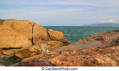 Ocean Waves Breaking On The Rocks - Waves Breaking On The...