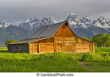 Old wooden Mormon barn on Mormon Row in Grand Teton National...