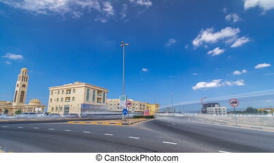 Cityscape of Ajman with villas ready and under constroction timelapse. Ajman is the capital of the emirate of Ajman in the United Arab Emirates.