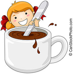 Girl with Hot Chocolate - Girl stirring Hot Chocolate with...