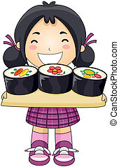 Girl with Sushi with Clipping Path