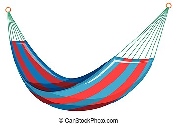 Swing bed in red and blue colors illustration