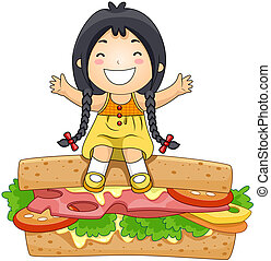 Girl on Sandwich with Clipping Path