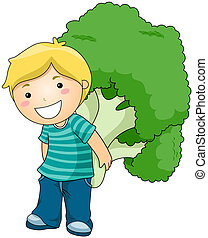 Boy with Broccoli with Clipping Path