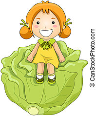 Girl on Cabbage with Clipping Path