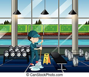 Janitor cleaning the fitness room illustration