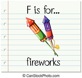 Flashcard letter F is for fireworks