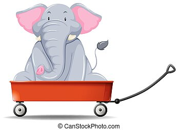Elephant in the red wagon