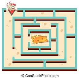 Maze template with mouse and cheese illustration