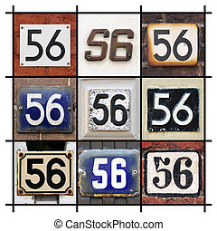 Number 56 sign - Collage of House Numbers Fifty-six