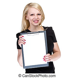 Happy young business woman showing blank signboard