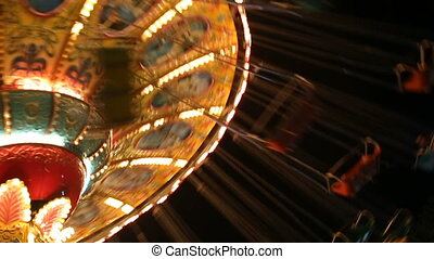 Fairground Carousel Spinning Round - Carousel Spinning in...