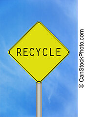 Recycle sign - A black and yellow recycle sign