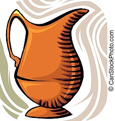 jug	 - Illustration of jug with water and floral design