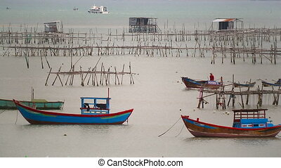 Fishing boats near fishing village Nha Trang Vietnam