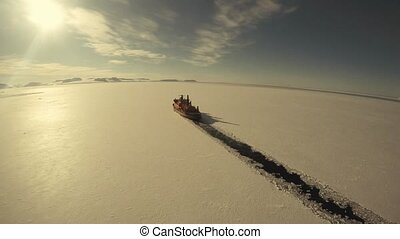 Icebreaker In the Arctic vew from helecopter - travel to the...