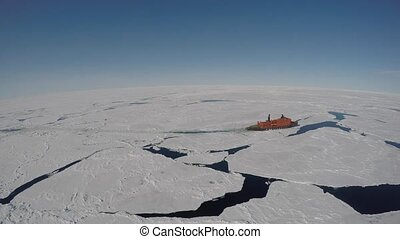 Icebreaker In the Arctic vew from helecopter