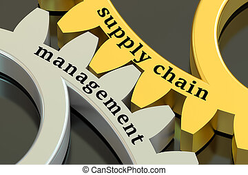 Supply Chain Management concept on the gearwheels, 3D...