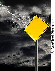 Empty Warning Sign Against Cloudy and Thunderous Sky