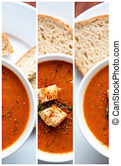 tomate, sopa, y, croutons, ,